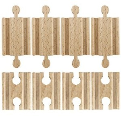 Set of 8 Male-Male Female-Female Wooden Train Track Adapters, Fits All Major Brands by Conductor Ca Multi-Colored
