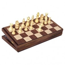 "Classic Games Collection 11"" Inlaid Walnut Wood Magnetic Chess   563204408"