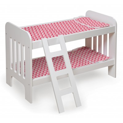 "Badger Basket Chevron Doll Bunk Bed with Bedding and Ladder - White/Pink - Fits American Girl, My Life As & Most 18"" Dolls   553651830"