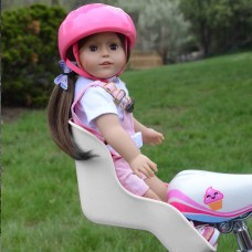 White Doll Bike Seat with Decorate Yourself Stickers for 18 inch Dolls