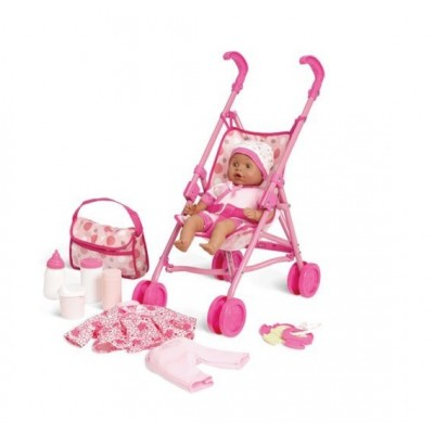 Kid Connection Babydoll and Stroller Playset - African American   563078448