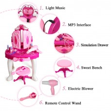 Princess Dressing Makeup Table Princess Girls Kids Vanity Table and Chair Beauty Play Set with Mirror Working Hair Dryer Pretend Princess Girls Makeup Accessories  Pink Birthday Gift