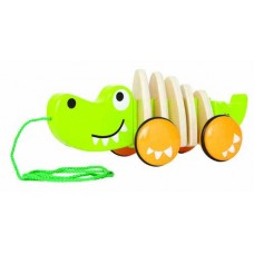 Hape - Wooden Walk-A-Long Croc Pull Toy with Rubber-Rimmed Wheels   550180911
