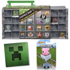 Hot Wheels Minecart with Minecraft Case holds 32 Mini Figures & Bonus Creeper Foil Sticker Gamer Bundle