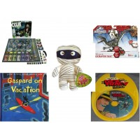 "Children's Gift Bundle [5 Piece] -  Clue Secrets and Spies  - Jurassic World Velociraptor ""Blue"" Figure  - Sugarloaf Kelly s Mummy Doll  11"" - Gaspard on Vacation  - The Best of the Dick Tracy Show"
