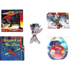 "Children's Gift Bundle [5 Piece] -  Connect Four Classic Grid  - Jurassic World Velociraptor ""Blue"" Figure  - Applause Mexican Hairless Dog   6"" - Gaspard on Vacation  - Hours of Cartoon Fun Superma"