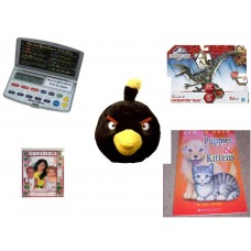 "Children's Gift Bundle [5 Piece] -  Electronic New York Times Trivia Quiz  - Jurassic World Velociraptor ""Blue"" Figure  - Angry Birds Black Bird  5"" - Outside of Me  - How to Draw Puppies & Kittens"