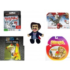 "Children's Gift Bundle [5 Piece] -  Hasbro s PICTUREKA Card  - Jurassic World Velociraptor ""Blue"" Figure  - BoxCar Willie Country Music Character Doll 16"" - Animal World Questions & Answers  - The B"