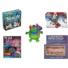 "Children's Gift Bundle [5 Piece] -  SeaLife Board  - Jurassic World Velociraptor ""Blue"" Figure  - Sugarloaf s Green Monster  8"" - Wild Weather Eyes On Adventure  - Caveman Dioramas to Cut and Assemb"
